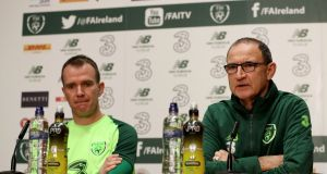 Glenn Whelan and manager Martin O'Neill speak to the press. Photo: Bryan Keane/Inpho