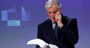 European Union's chief Brexit negotiator Michel Barnier delivers a statement after UK Prime Minister Theresa May's cabinet meeting. Photograph: Francois Lenoir/Reuters