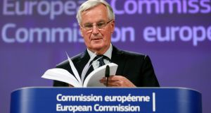 Michel Barnier, EU chief negotiator, gives a press briefing in Brussels as the British cabinet  backed the draft Brexit withdrawal agreement. Photograph: EPA/ Olivier Hoslet