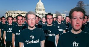 Cardboard cutouts of Mark Zuckerberg, Facebook's chief executive, in Washington earlier this year. Photograph: Lawrence Jackson/The New York Times
