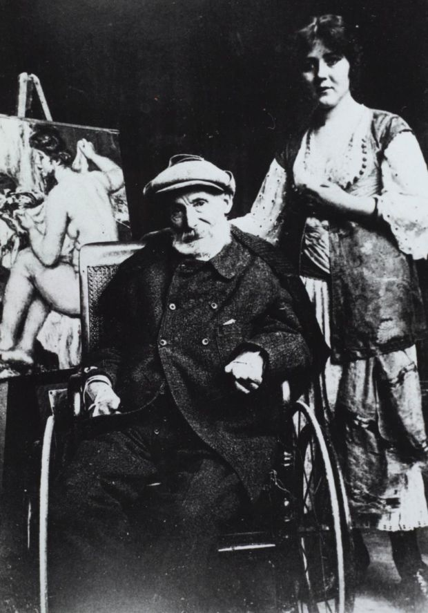 Father and son: Pierre-Auguste Renoir and Andrée Heuschling in his studio at Les Colettes in 1918, in a photograph attributed to Walther Halvorsen. Courtesy Ville de Cagnes-sur-Mer/Musée Renoir