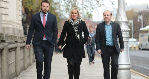SDLP leader Colm Eastwood, Sinn Fein deputy leader Michelle O'Neill and Northern Ireland Green Party leader Steven Agnew, arrive for a Brexit briefing with Taoiseach Leo Varadkar at Government Buildings in Dublin. Photograph: Niall Carson/PA Wire