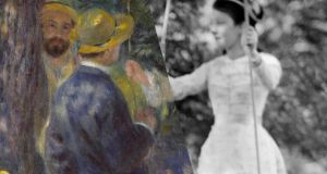 Father and son: part of Pierre-Auguste Renoir's painting The Swing, and on the set of the Jean Renoir film A Day in the Country. Original photographs courtesy Musée d'Orsay and Centre Pompidou