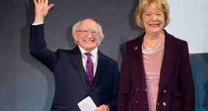President Michael D Higgins and his wife Sabina in Dublin Castle after his re-election. Photograph:    Tom Honan