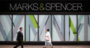 Brexit-sensitive stocks such as Marks and Spencer fell as political turmoil heightens in UK.