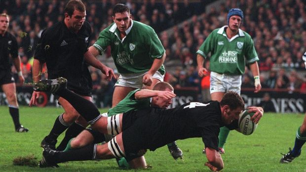 Chris Jack scores a try as Peter Stringer of Ireland tries to stop him in 2001. Photograph: Lorraine O'Sullivan/Inpho