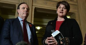 DUP leader Arlene Foster and deputy leader Nigel Dodds.  November 2, 2018 in Belfast, Northern Ireland. (Photo by Charles McQuillan/Getty Images)