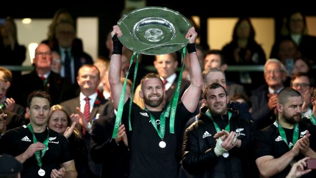 Kieran Read lifts the Hillary Shield after New Zealand's win over England. Photograph: Phil Walter/Getty