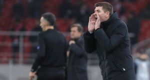 Rangers' head coach Steven Gerrard shouts instructions from the sideline during the  Uefa Europa League match against  Spartak Moscow  in Moscow. Photograph: Yuri Kochetkov/EPA