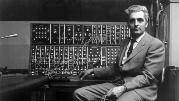 American inventor Robert Moog sitting in front of his Moog synthesiser in 1970. He and Carlos struck up a lifelong, mutually rewarding friendship. Photograph: Jack Robinson/Hulton Archive/Getty Images