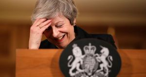 British prime minister Theresa May reacts during a press conference at 10 Downing Street. Photograph: Matt Dunham/PA