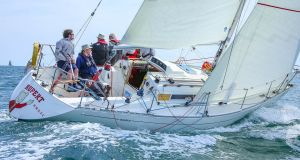 Philip (left) and Richard Lovegrove sailing the Sigma 33 'Rupert', winners of the Waterhouse Shield for the best performing DBSC cruiser-racer in 2018. Photograph: Afloat.ie