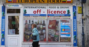 An eastern European food shop in England. Photograph: Lindsey Parnaby/AFP/Getty Images
