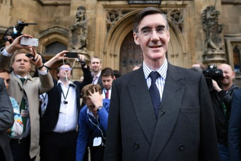 Tory MP Jacob Rees-Mogg outside Parliament in London after he handed in his letter of no confidence to Sir Graham Brady, chairman of the 1922 Committee. Photograph: Stefan Rousseau/PA