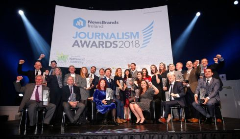 NewsBrands Ireland Journalism Awards in Dublin's Mansion House. Where all-category winners gathered for the group photograph.  Photograph: Nick Bradshaw/The Irish Times