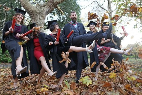 Aine Mulvany, Julia Verrelli, Eleanor Creighton, Victor O Brien, Aine Ni Mhurchu and Danya Elgahzel who graduated with degrees in Pharmacy and Physiotherapy today from Royal College of Surgeons in Ireland on St Stephen's Green, Dublin. Photograph: Julien Behal