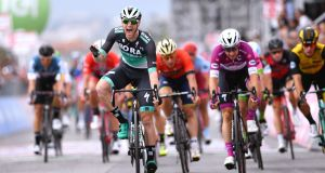 Ireland's Sam Bennett winning the seventh stage of the Giro d'Italia from Pizzo to Praia a Mare back in May. Photograph:  Justin Setterfield/Getty Images