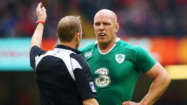 Ireland's Paul O'Connell with referee Wayne Barnes. Photograph: Cathal Noonan/Inpho