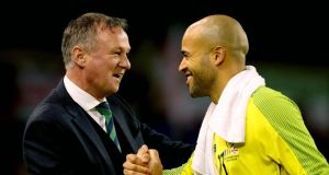 Michael O'Neill shakes hands with Ireland's Darren Randolph after the international friendly at the Aviva stadium. Photo: Ryan Byrne/Inpho