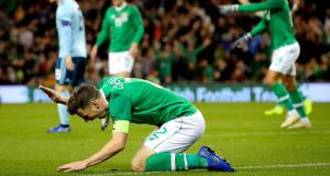 Ireland's Séamus Coleman reacts during the friendly draw with Northern Ireland. Photo: Ryan Byrne/Inpho