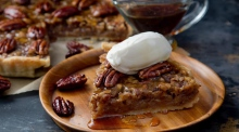Deliciously rich and simple maple-roasted pecan pie