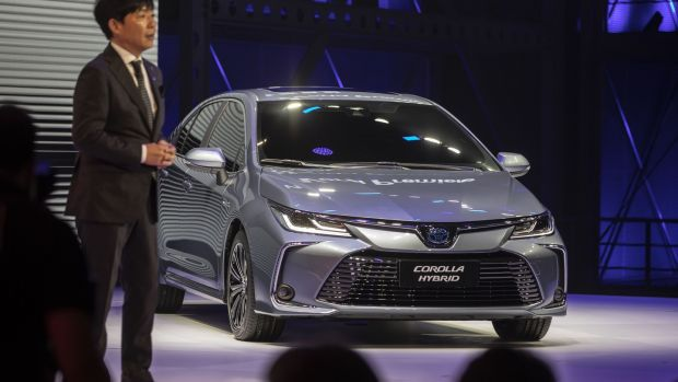 Koshiki Konishi, chief engineer of the new generation of Toyota Corolla at the launch of the saloon variant