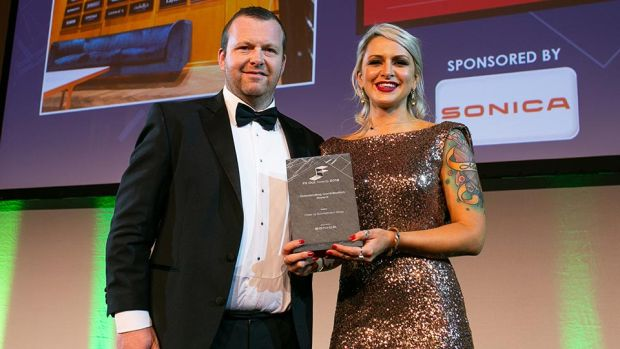 Tamara Howard, Brand & Bid Manager, SONICA presents the Outstanding Contribution Award to Matt Ryan, Press Up Entertainment Group.