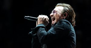 Homeward Bound: Bono recorded his contribution to the single before going on stage for the third of U2's four homecoming gigs last week. Photograph: Simone Joyner/Getty