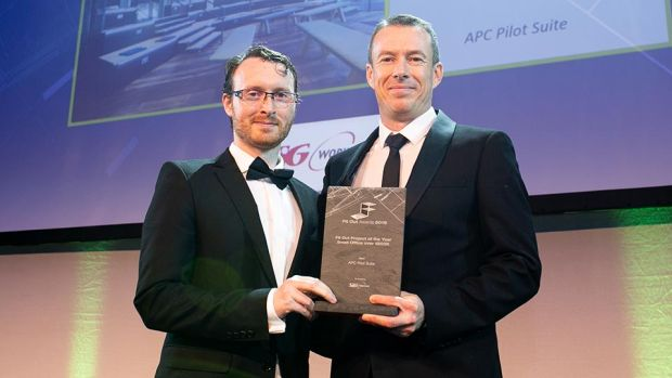 JP Rust, General Manager, SIG Workplace presents the Fit Out Project of the Year - Small Office over €500K award to Jim Byrne, RKD Architects