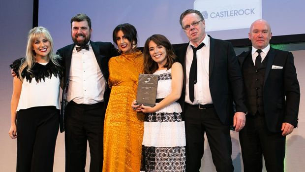 Richard Flood, Managing Director, Castlerock presents the Fit Out Project of the Year – Retail award to Kingston Lafferty Design & NSBS teams.