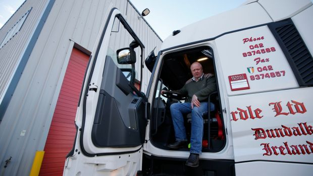Driver John Carroll of DG McArdle gets ready to leave Dublin for Germany. Photograph: Nick Bradshaw for The Irish Times
