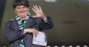 DUP leader Arlene Foster at the friendly football match between Ireland and Northern Ireland in Dublin. Photograph: Paul Faith/AFP/Getty Images