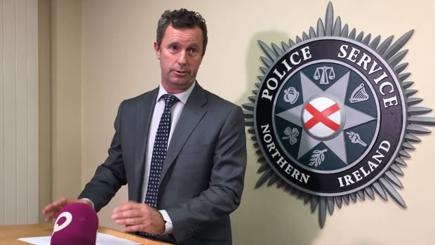 Detective Superintendent John McVea, from the Police Service of Northern Ireland's terrorism investigation unit, briefing the media at PSNI HQ in Belfast about a new IRA weapons haul. Photograph: David Young/PA