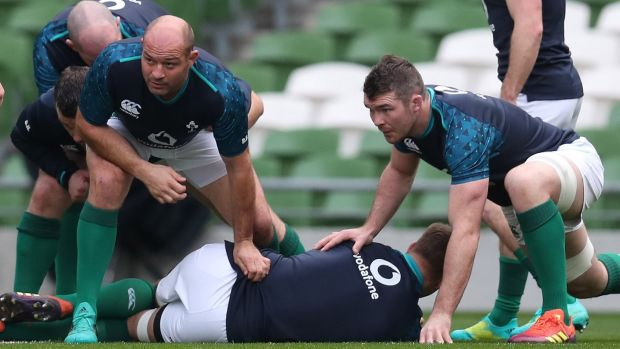 Rory Best and Peter O'Mahony during the captain's run. Photograph: Billy Stickland/Inpho