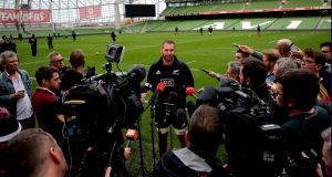 Kieran Read speaks to the media on Friday. Photograph: Ryan Byrne/Inpho