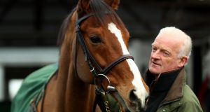 "Trainer Willie Mullins and  Faugheen: ""He's in great shape and it's a track that he loves."" Photograph: James Crombie/Inpho"