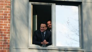 Taoiseach Leo Varadkar (left) and Housing Minister Eoghan Murphy at the official opening of phase one of a housing regeneration project at Dolphin House in Dublin. Photograph: Brian Lawless/PA Wire