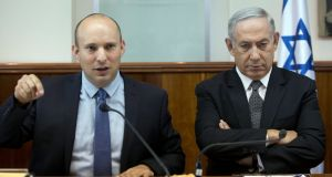 Israeli education minister Naftali Bennett and prime minister Binyamin  Netanyahu at a cabinet meeting in 2016. Photogrph: Abir Sultan/AP