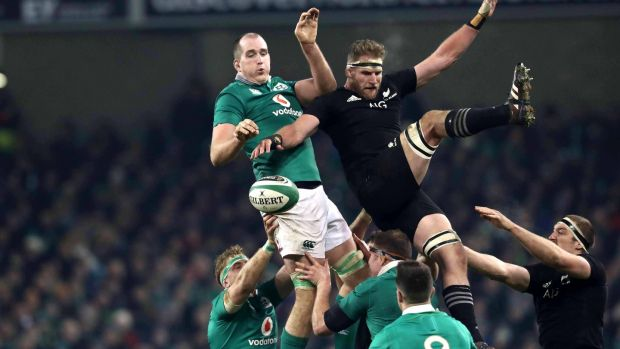Ireland's Devin Toner competing for a lineout ball with New Zealand's Kieran Read at the Aviva Stadium two years ago. Photograph: Billy Stickland/Inpho
