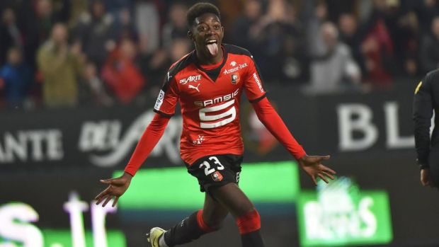 Ousmane Dembélé celebrates after scoring for Rennes against Reims in April 2016. Photograph: Loic Venance/AFP/Getty Images