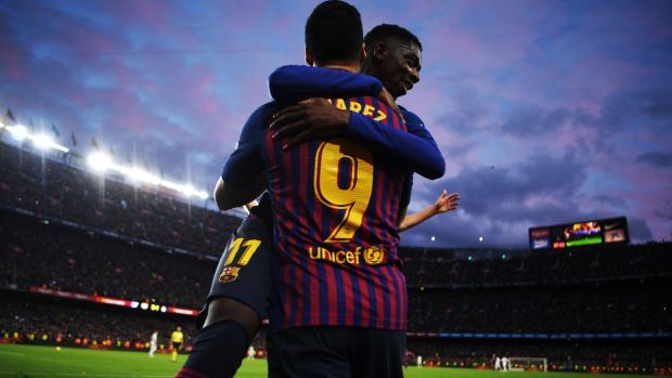 Luis Suarez celebrates with Ousmane Dembélé after scoring the fourth goal against Real Madrid in the La Liga game at the Camp Nou on October 28th. Photograph: David Ramos/Getty Images