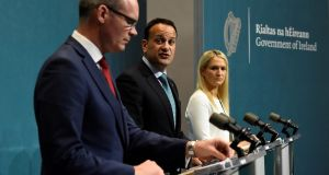 Simon Coveney, Leo Varadkar and Helen McEntee, on Wednesday. The three are believed to be among about a dozen people at the Tuesday night briefing in the Taoiseach's meeting room. Photograph: Clodagh Kilcoyne/Reuters
