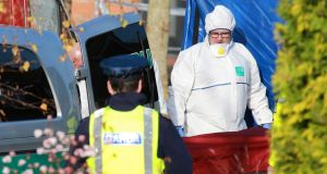 Clive Staunton's body is removed from  the Glen Easton housing estate in Leixlip, Co Kildare, where he was shot on Thursday night. Photograph: Colin Keegan/ Collins
