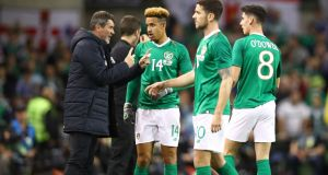 Republic of Ireland assistant manager Roy Keane speaks to Callum Robinson during the draw with Northern Ireland at the Aviva. Photograph: Dan Istitene/Getty Images