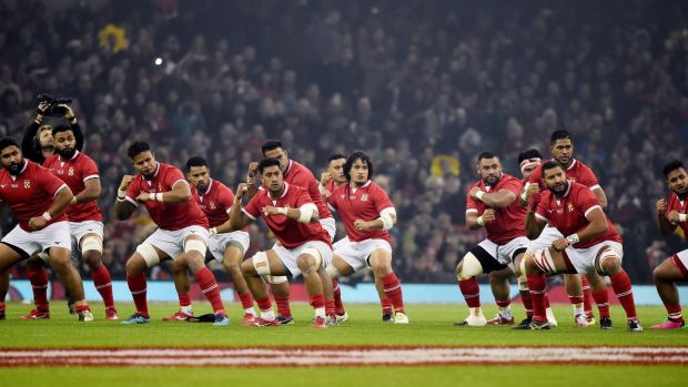 Tonga players perfrom the kailao before in Cardiff. Photograph: Rebecca Naden/Reuters