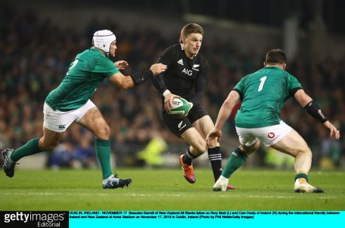 Beauden Barrett of New Zealand  takes on Rory Best and Cian Healy. Photograph: Phil Walter/Getty Images