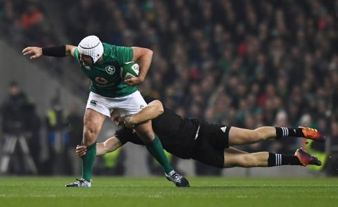 Ireland's Rory Best in action with New Zealand's Jack Goodhue. Photograph: Clodagh Kilcoyne/Reuters