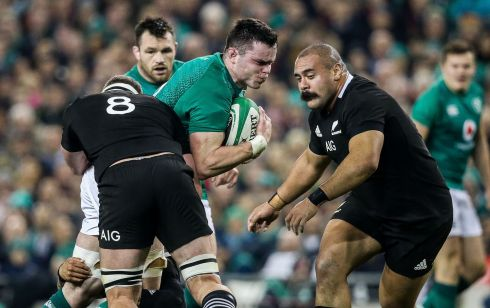 Ireland's James Ryan with Kieran Read and Karl Tu'inukuafe of New Zealand. Photograph: Gary Carr/Inpho