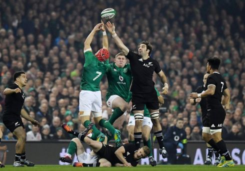Ireland's Josh van der Flier in action with New Zealand's Sam Whitelock. Photograph: Clodagh Kilcoyne/Reuters
