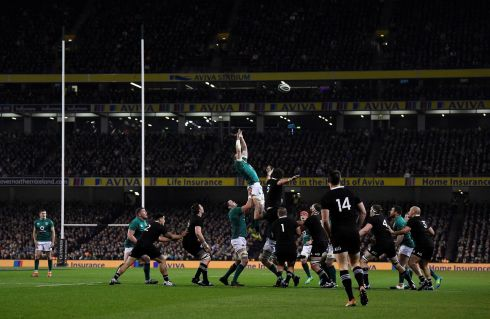 Ireland and New Zealand players in action during a lineout. Photograph: Clodagh Kilcoyne/Reuters